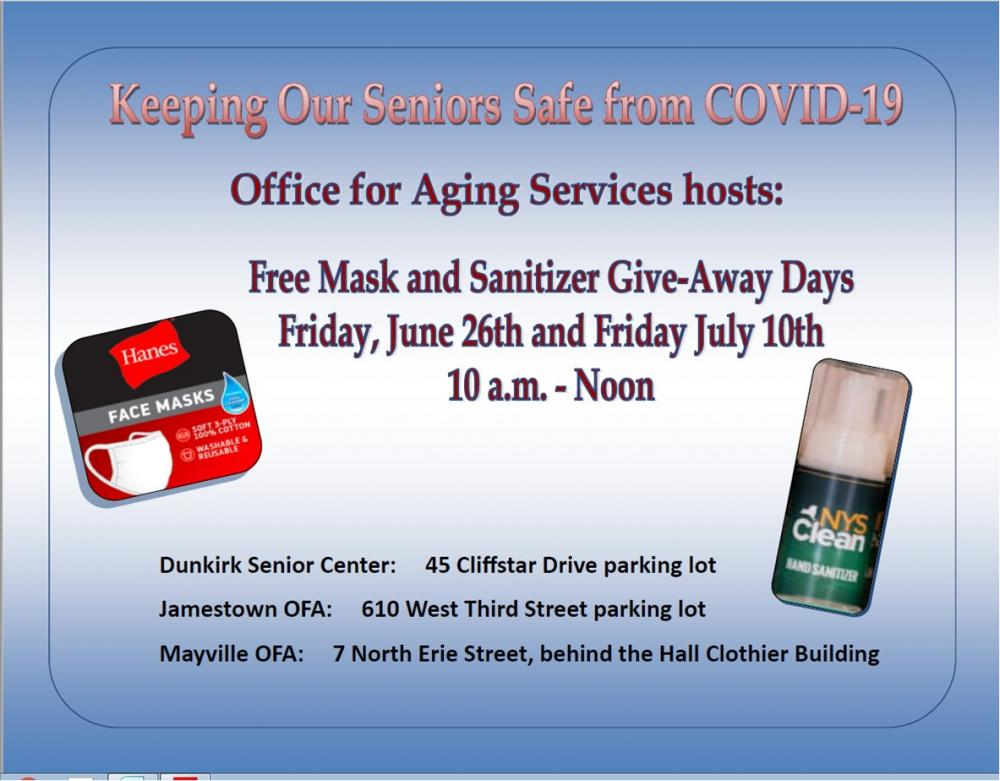 Flyer for Free Mask and Sanitizer Give-Away Events